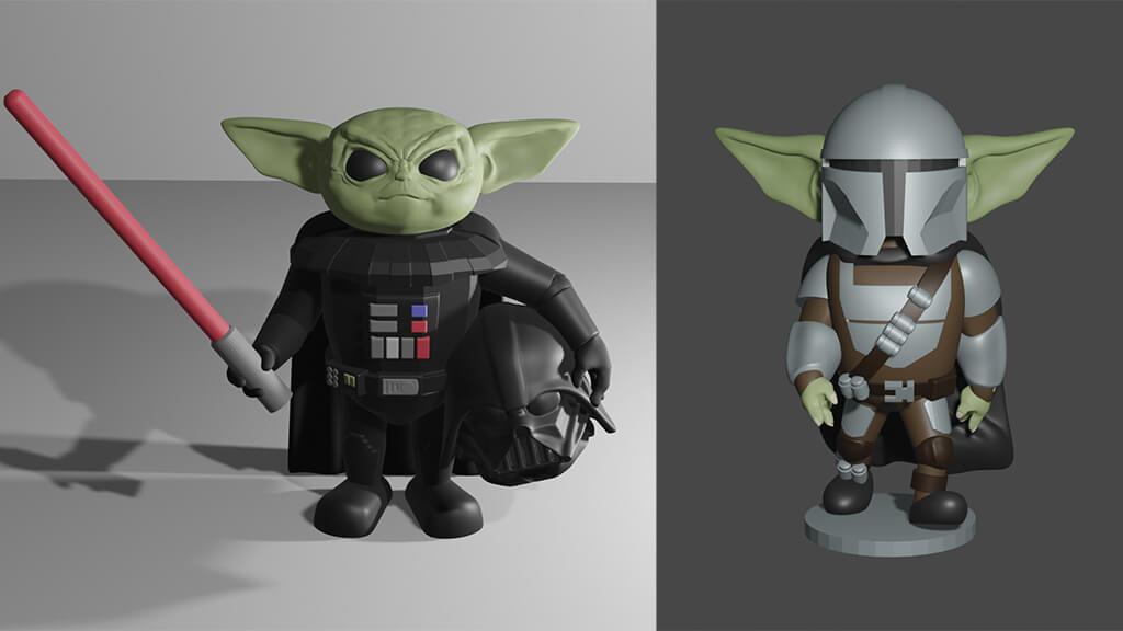 Baby Yoda 3D printing models as Darth Vader and The Mandalorian