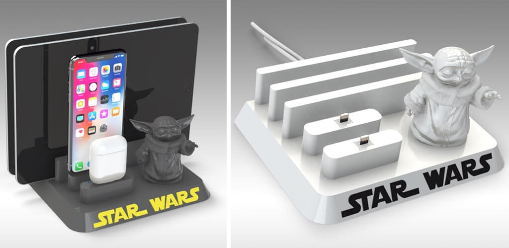 Baby Yoda docking station for phone and tablet model to 3D print
