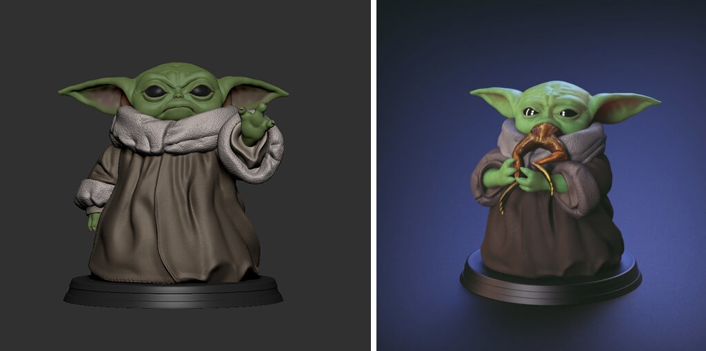 Baby Yoda eating a frog and using Force 3D printing models