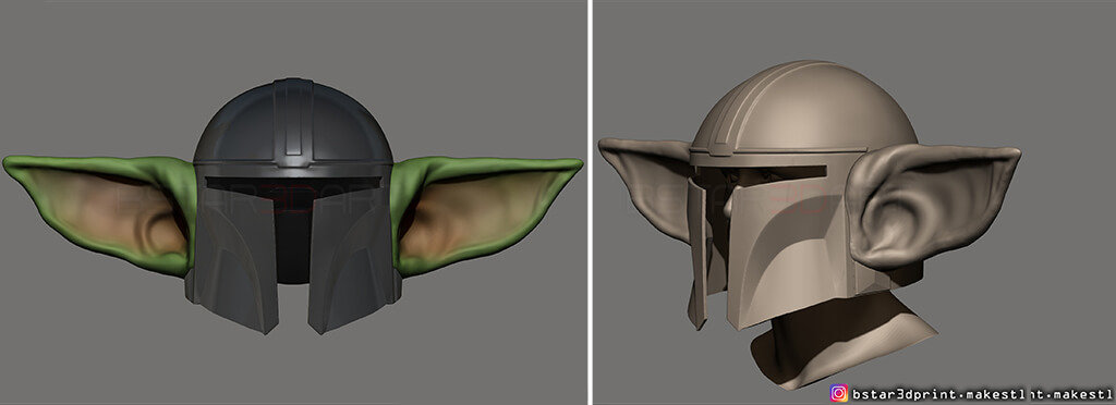 The Mandalorian helmet 3D printing model with Baby Yoda ears