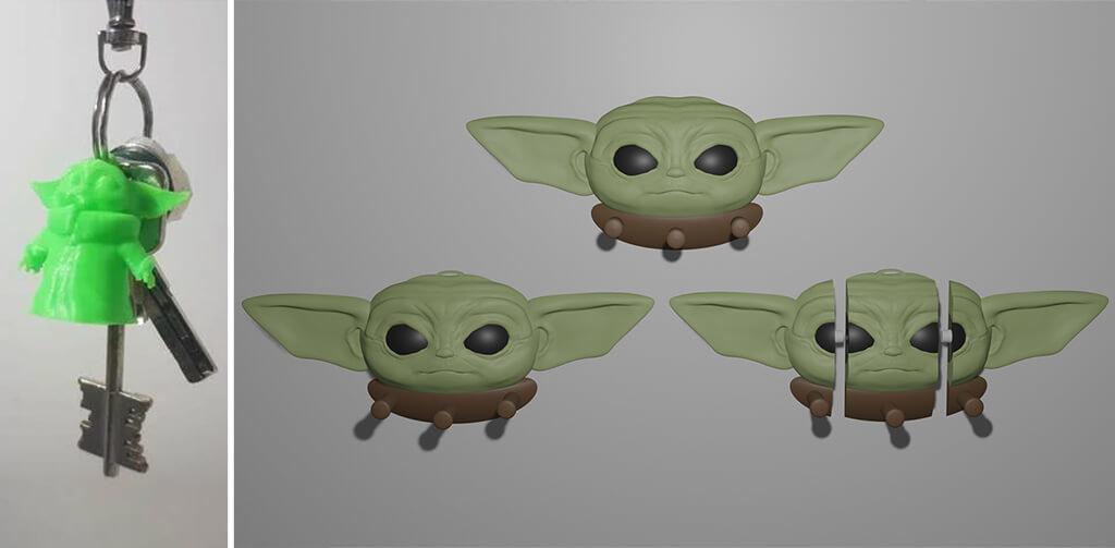 Baby Yoda key chain and key holder 3D printing models STL