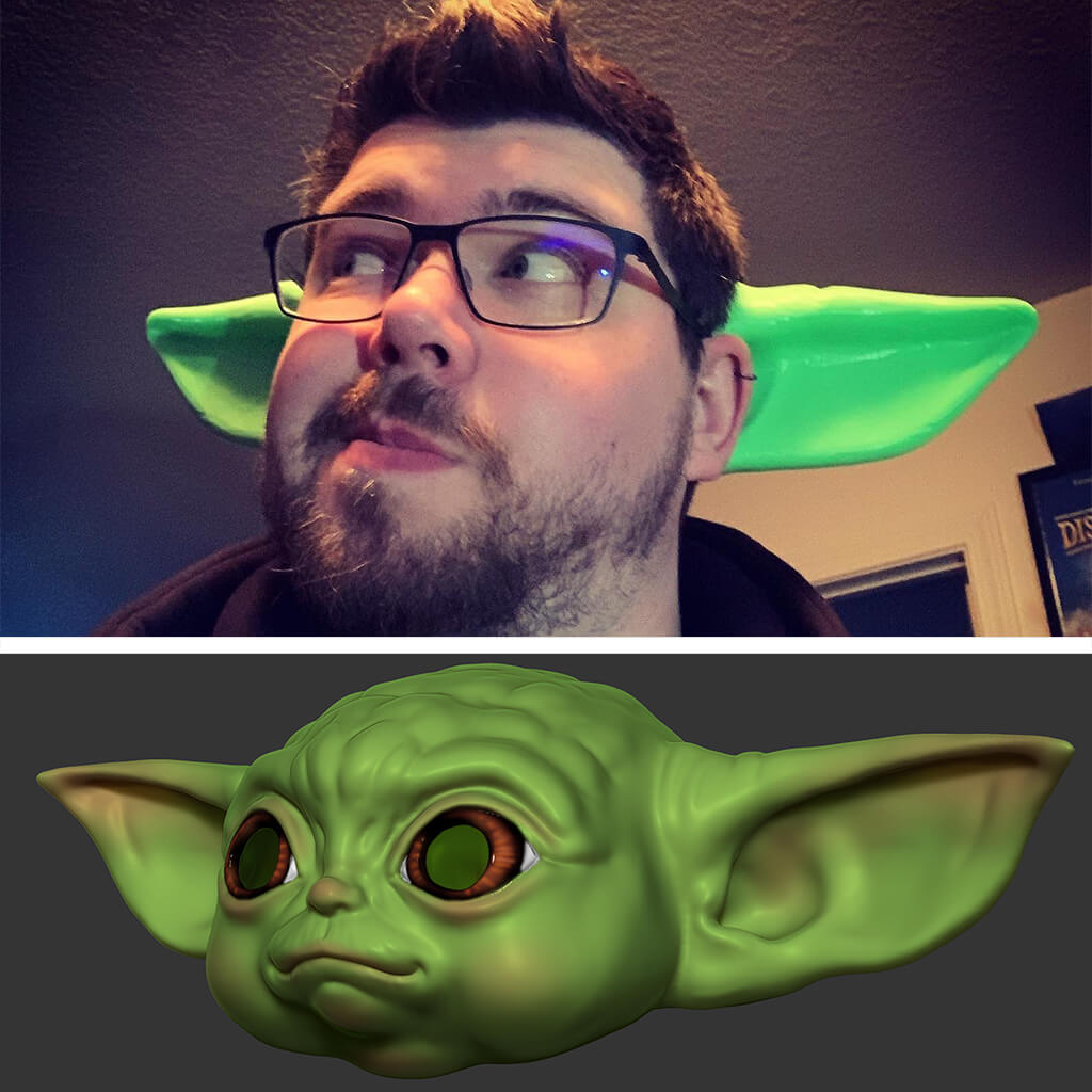 Baby Yoda mask 3D printing model with ears