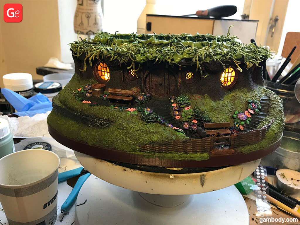Miniature Hobbiton Hole as bonsai tree pot 3D printed model