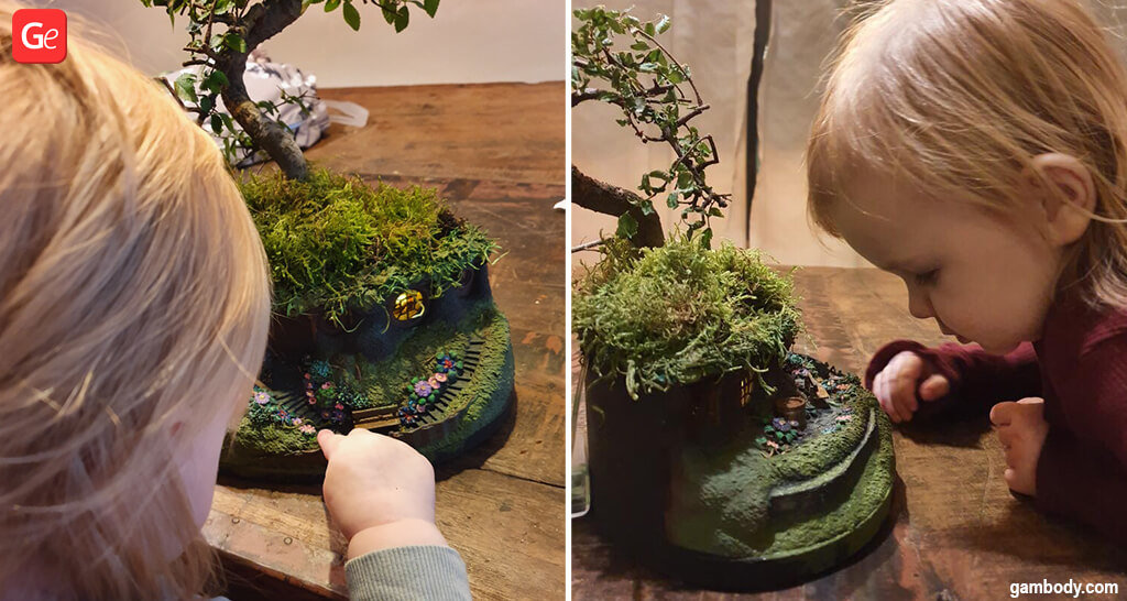 Hobbit House bonsai planter 3D printed size compared to a child