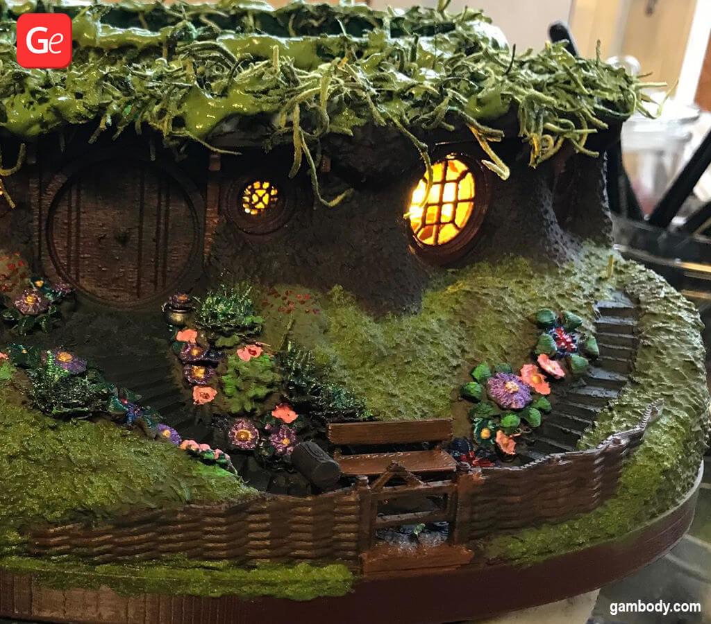 Hobbit house with lights as bonsai tree pot 3D printed model