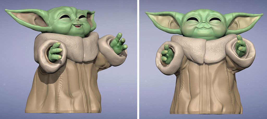 Smiling Baby Yoda 3D model to 3D print render