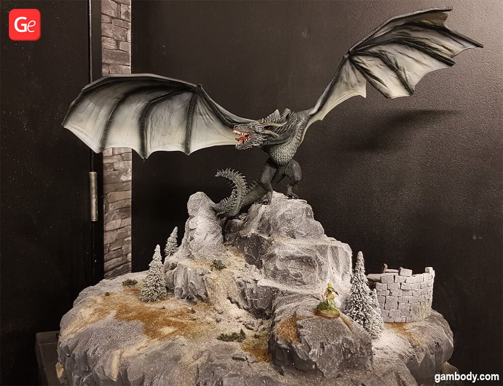 Viserion dragon 3D printed figurine for wargame
