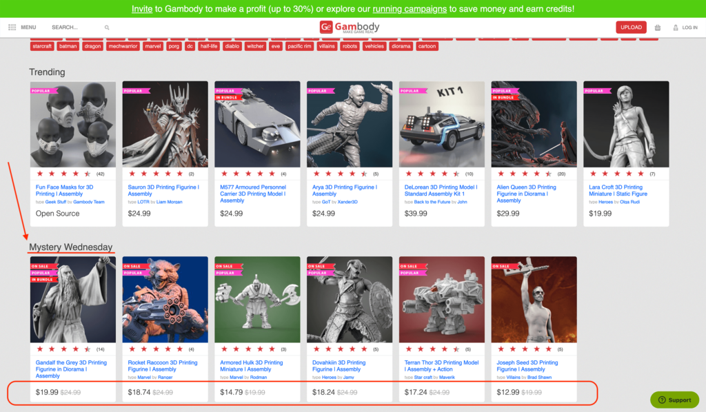 Mystery Wednesday discounts on 3D printing models from Gambody