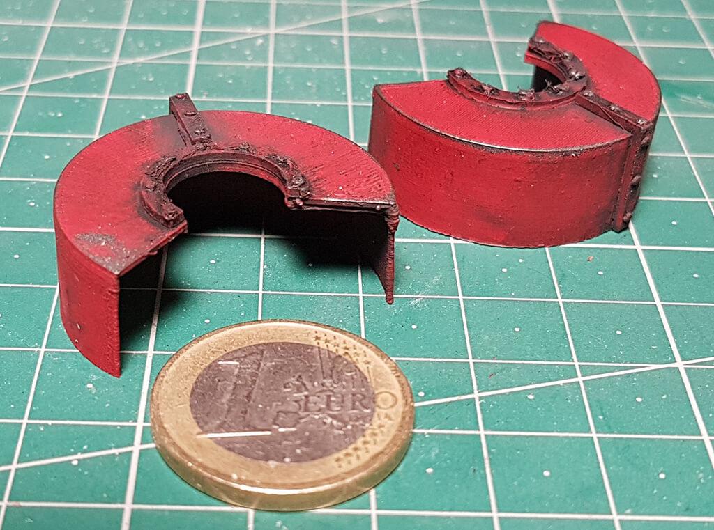 3D printed model parts