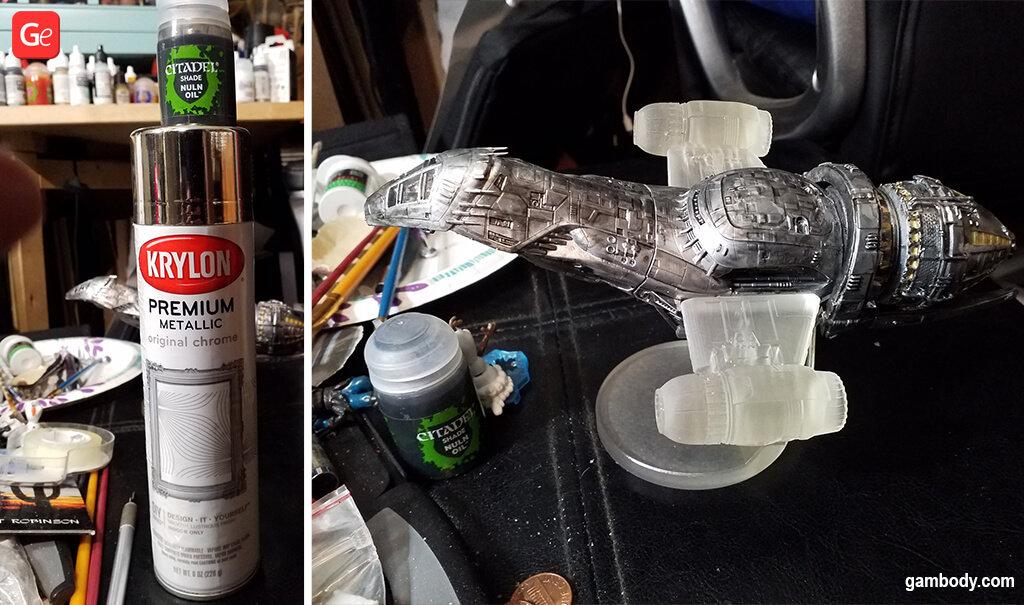 Krylon metallic paint for Serenity vessel 3D printed model
