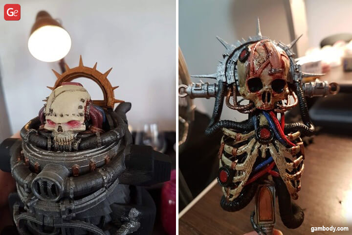 Stunning skeleton and skull 3D printing parts of Chaplain Space Marine figurine