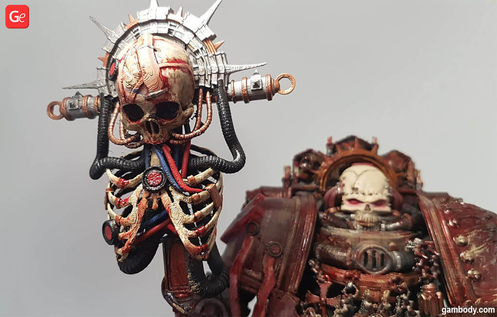 Chaplain 40K rib cage on the staff