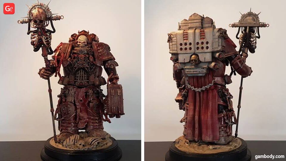 3D printed Chaplain 40K figurine front and back