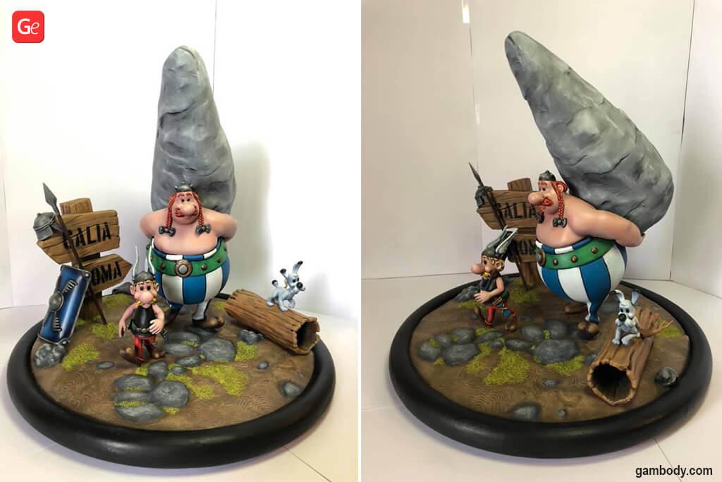 Asterix and Obelix 3D printing diorama