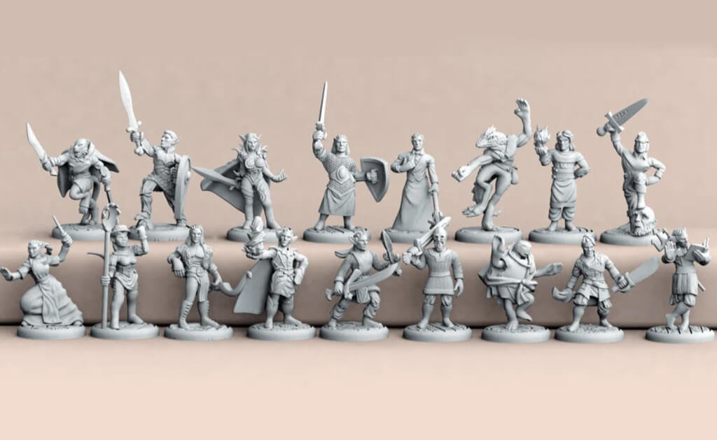 Dungeons and Dragons 3D printed character models