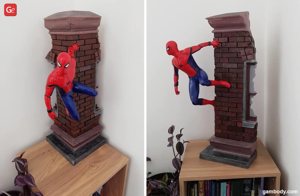 Spider-Man crawling on wall 3D print