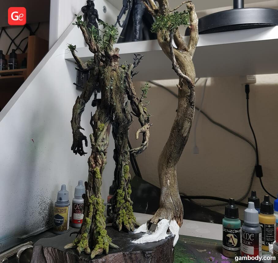 Treebeard figure 3D print being painted