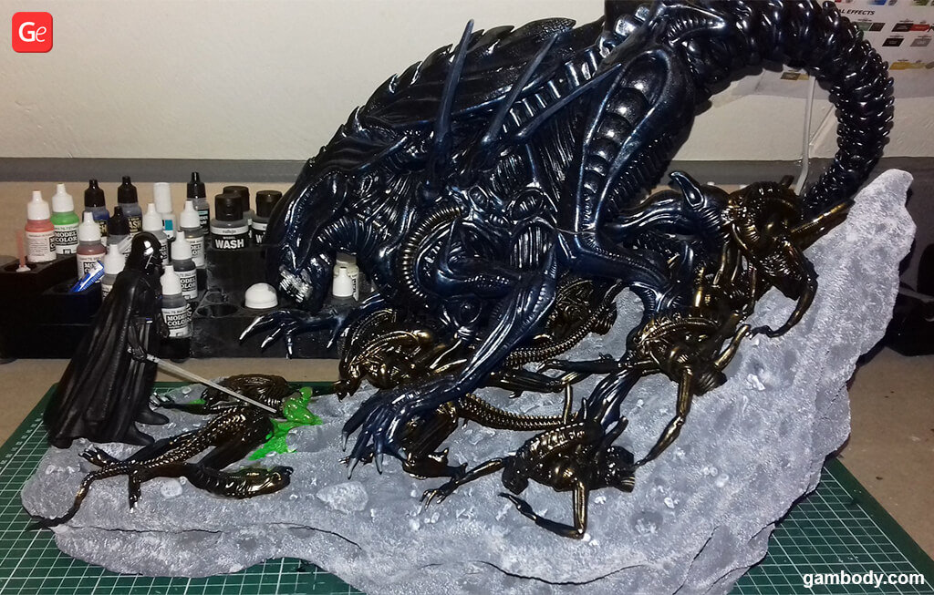 Alien fight with Darth Vader 3D print