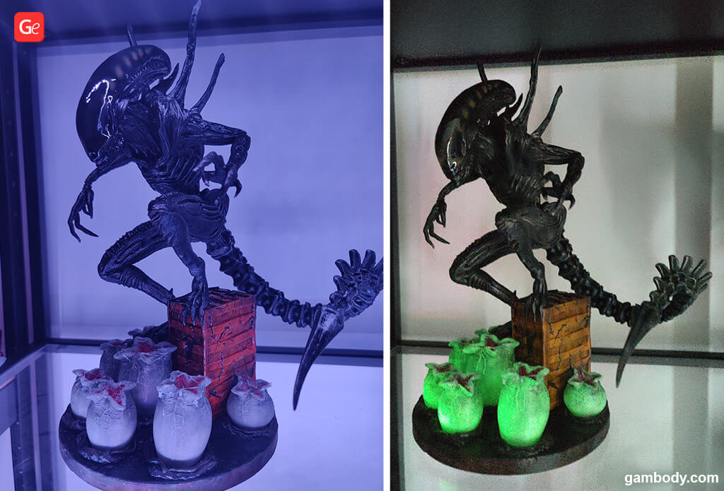 Alien diorama 3D printed with fluorescent filament