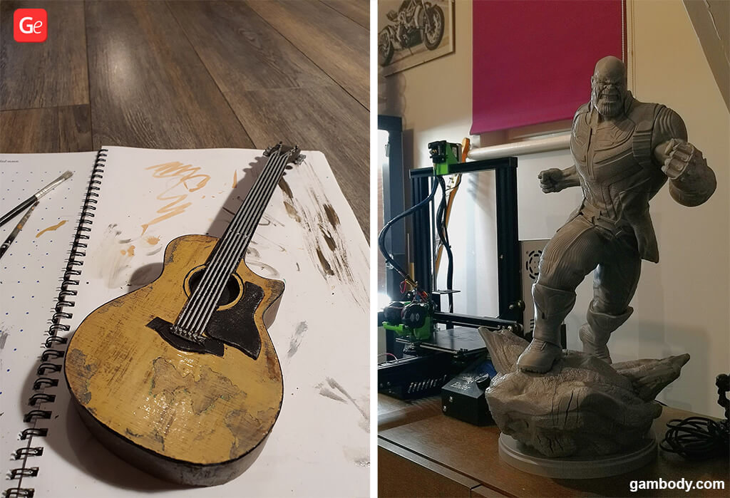 Ellie guitar Last of Us 2 and Thanos 3D printed figure