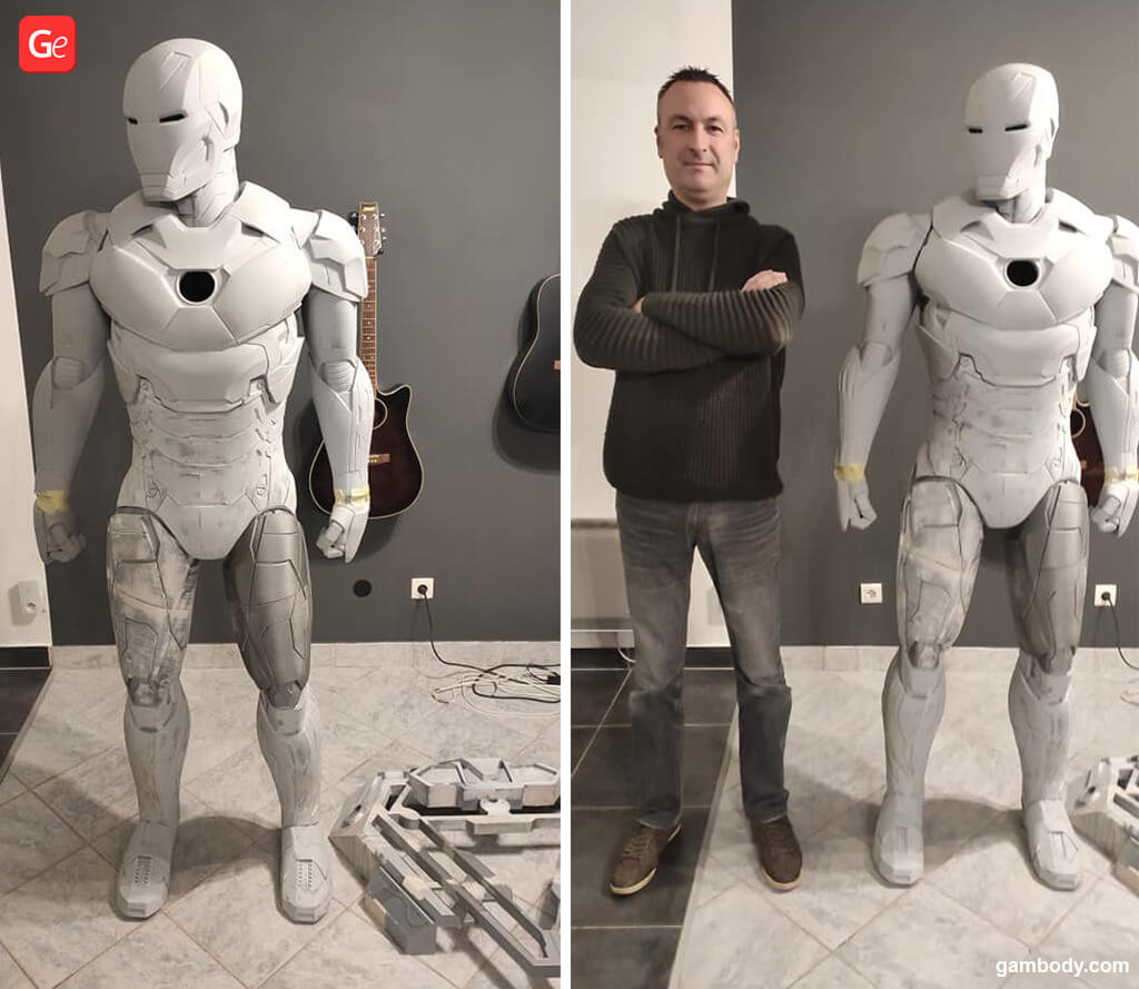 3D printed Iron Man figure 191 cm life-size