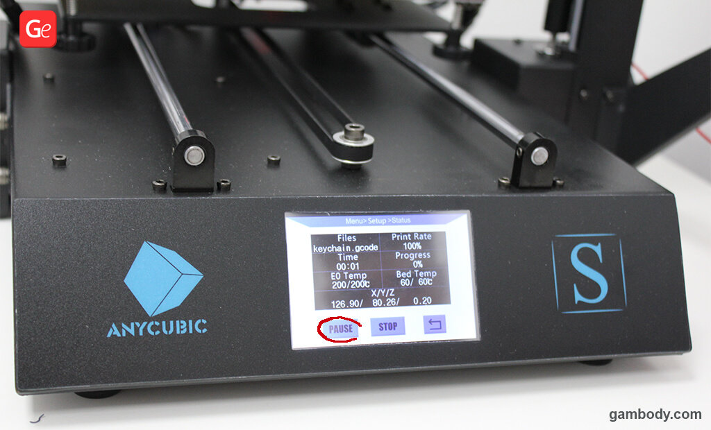Pause 3D printer to switch colours print with one extruder