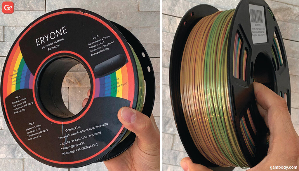Multicolour filament to print with single extruder