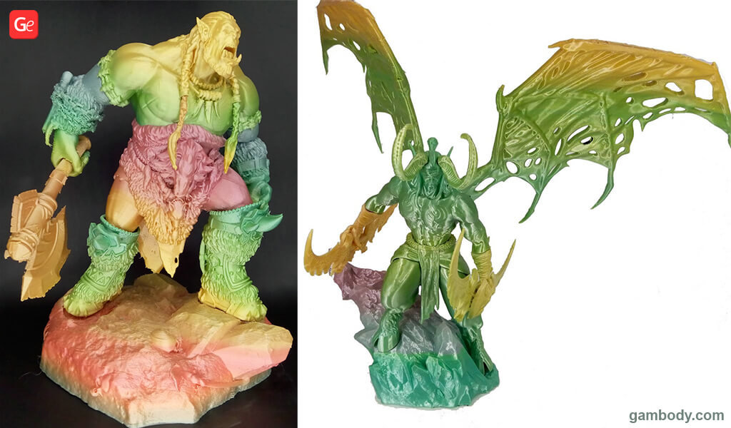Rainbow PLA filament to print multiple colours with one exruder Durotan and Illidan