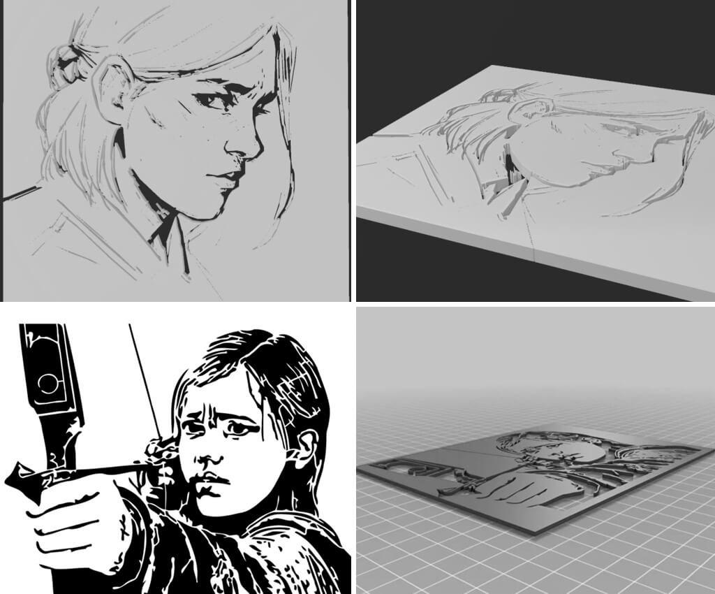 The Last of Us Ellie wall art 3D printing stencils