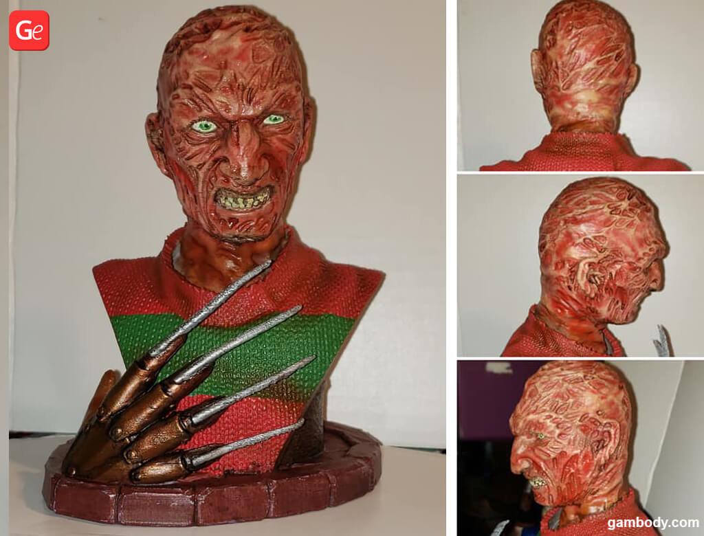 Freddy Krueger bust 3D printed