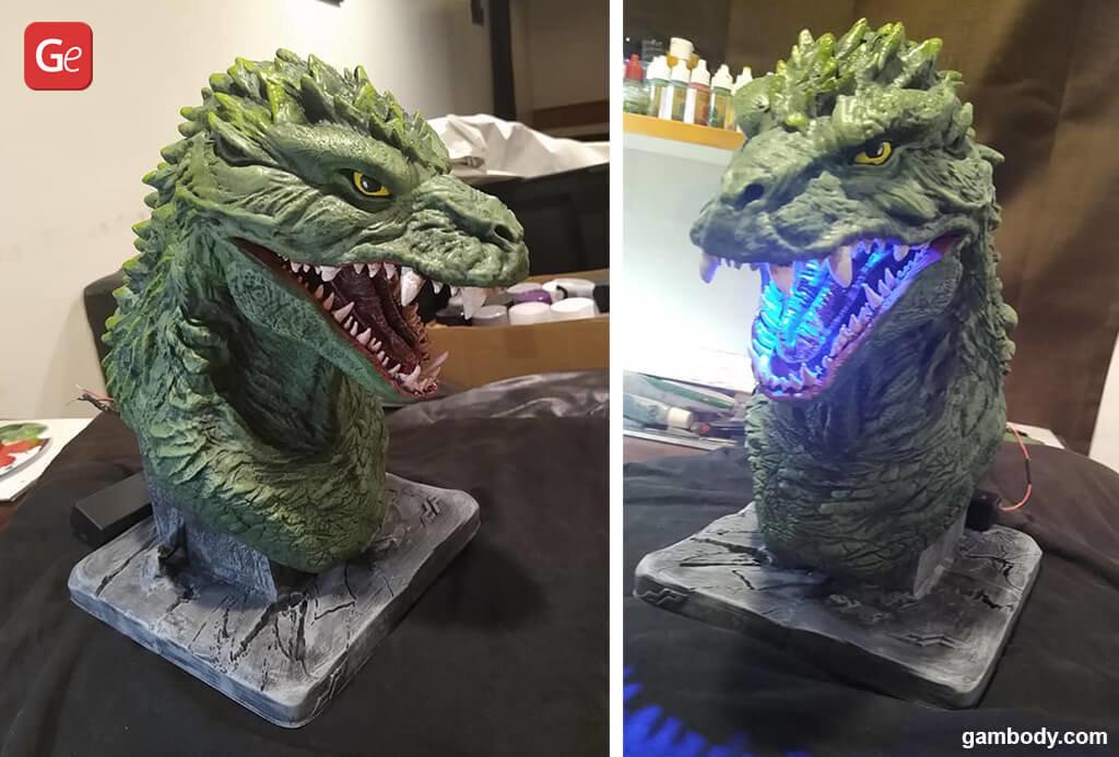 Godzilla 2000 bust 3D printed