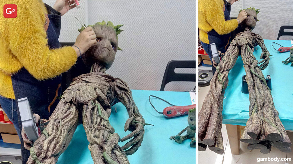 Painting Groot life-size figure 3D print
