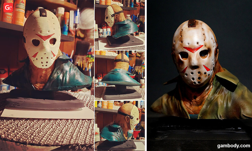 Jason Voorhees bust 3D prints for Halloween