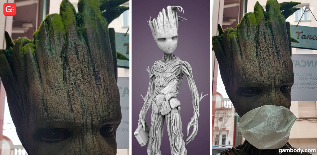 Groot 3D print with a mask on tree-like creature's face