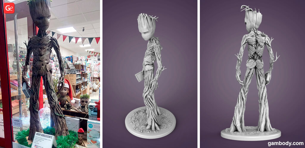 Teenager Groot 3D print as life-size statue