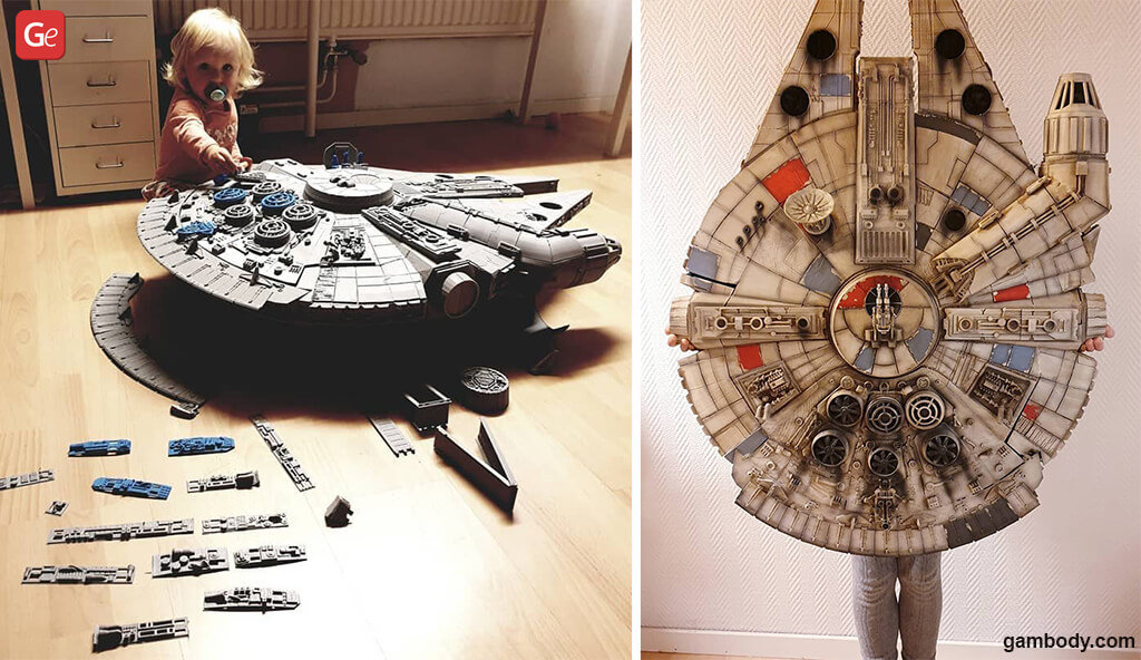 Millennium Falcon 3D printed model from Star Wars