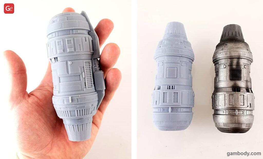 Mandalorian Razor Crest ship engines 3D printed with Light Grey resin