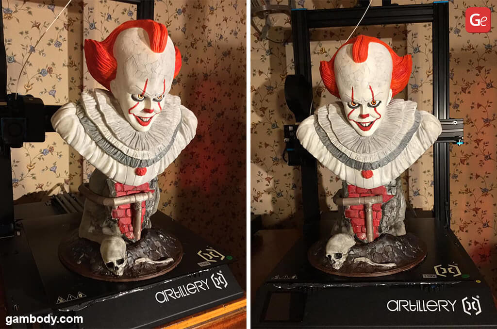 3D printed monsters Pennywise bust