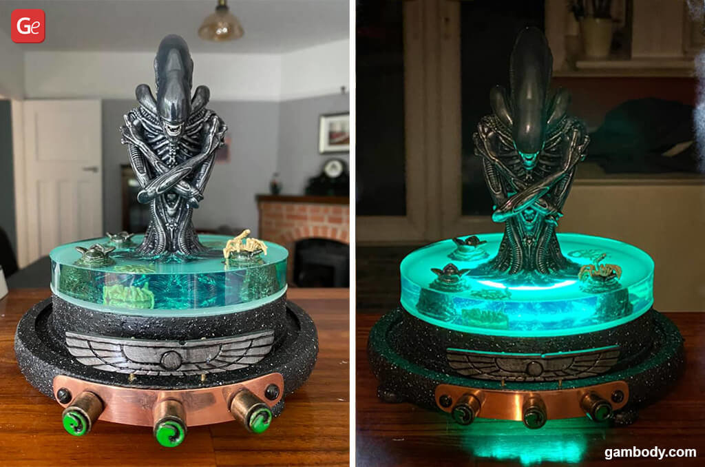3D printed Alien Xenomorph bust with lights
