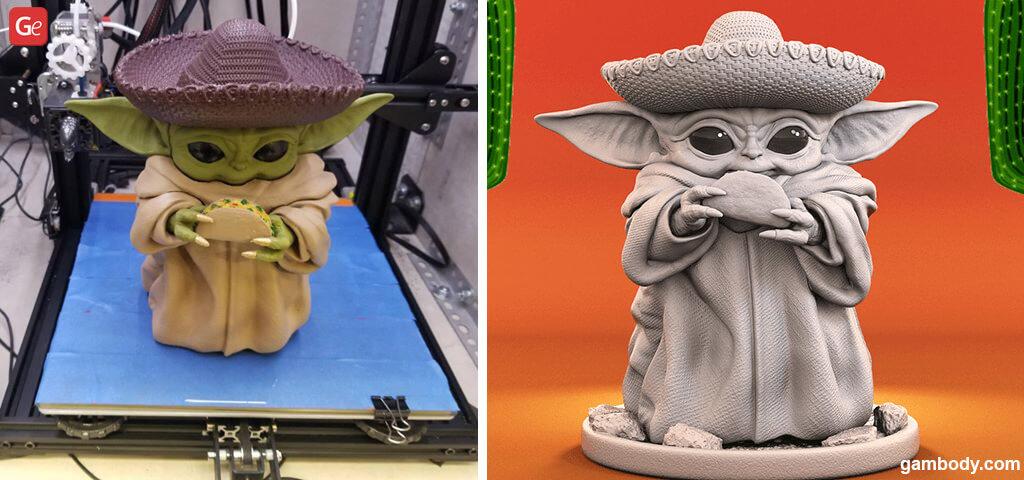 Baby Yoda Cinco de Mayo figure 3D print