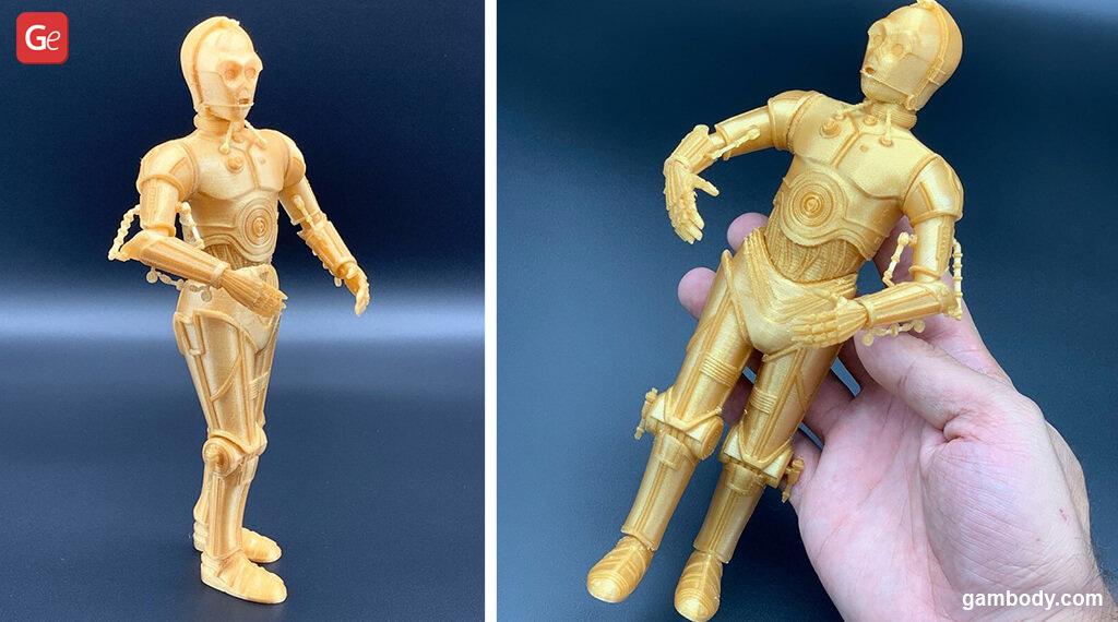 C-3PO droid 3D model printed Mandalorian