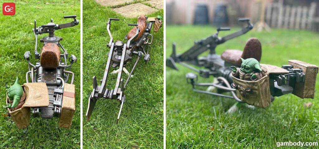 Speeder Bike 3D print model with Baby Yoda from Mandalorian