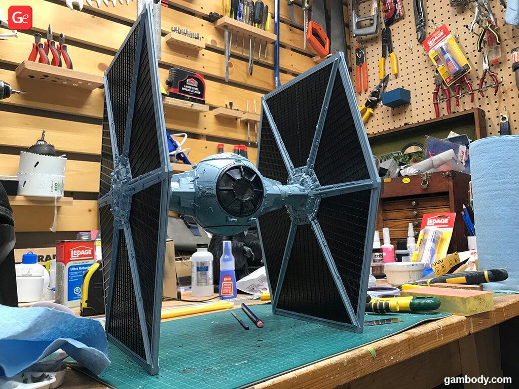 TIE fighter Mandalorian 3D model printed