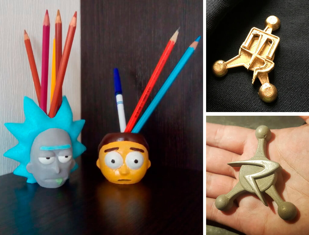 Rick & Morty Accessories for 3D printing pin, pencil holder, badge