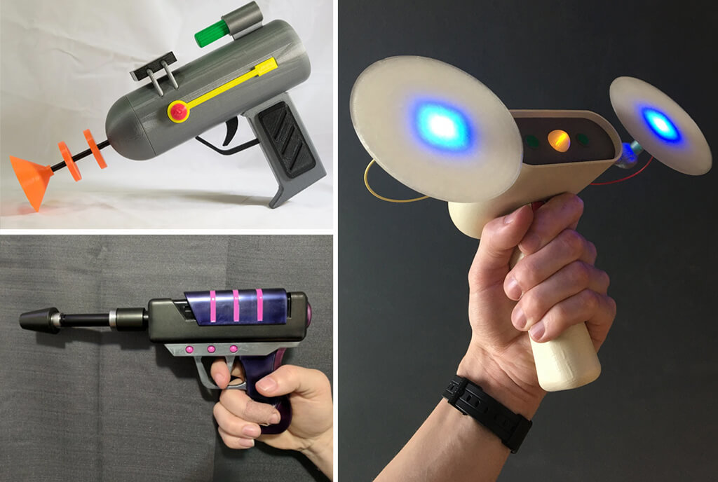 Rick and Morty 3D printing gun models Mind Eraser, Plasma Pistol, Laser Gun