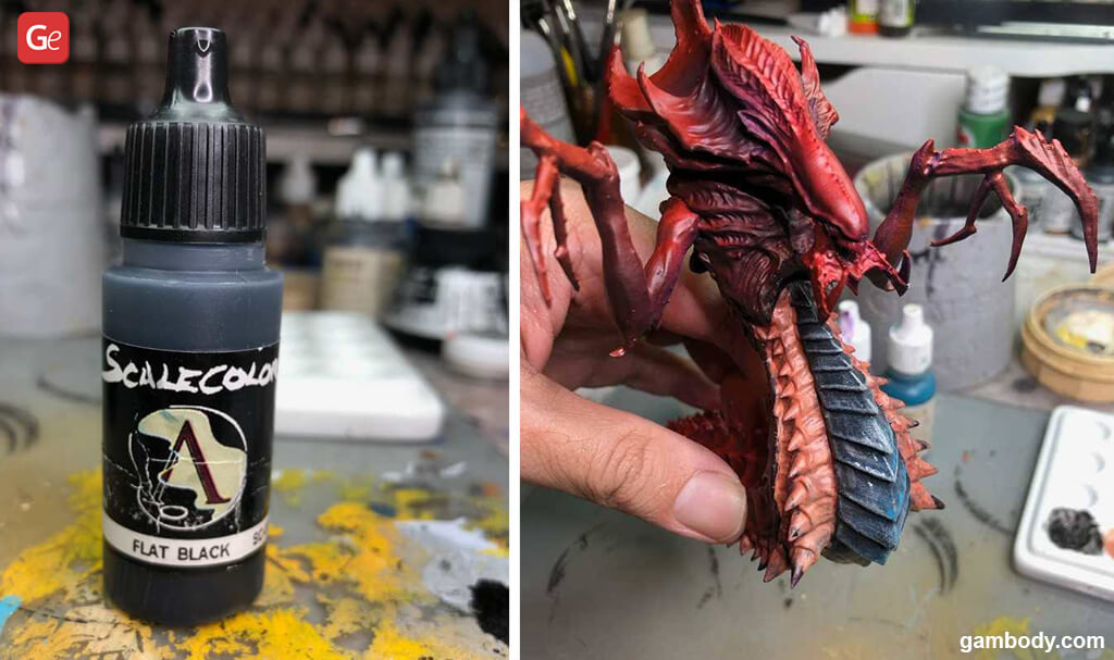 Hydralisk 3D model painting with traditional brush