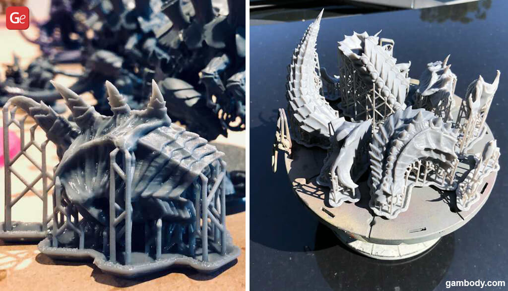 Curing 3D printed Hydralisk model