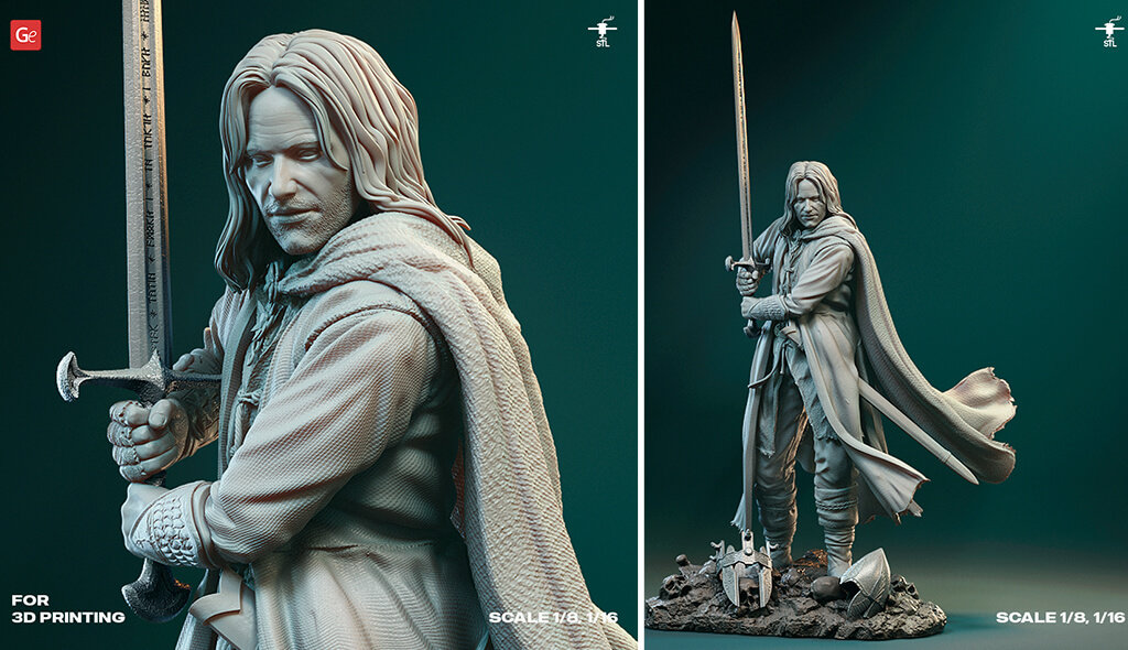 Aragorn 3D printing model Lord of the Rings