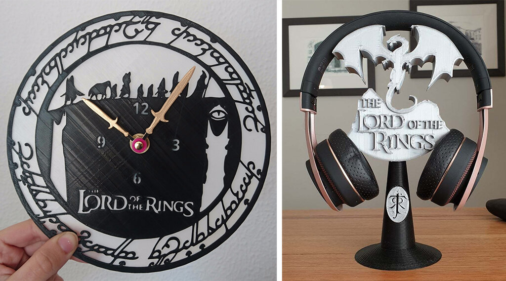Lord of the Rings 3D printing models clock and headphone stand