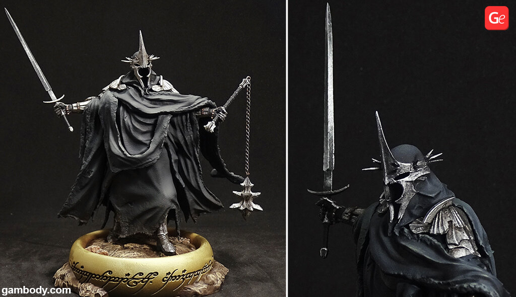 3D printed Lord of the Rings Witch-king figure